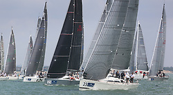Brewin Dolphin Scottish Series 2014, the start of an International IRC competition racing on the Solent off Cowes and hosted by the RORC.<br /> <br /> Jamie McGarry and Kevin Sproul onboard the Team Scotland Swan 45, Eala of Rhu.<br /> <br /> Credit.  Marc Turner