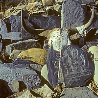 """Tibetan Buddhist and carvings of buddhas and saints prayers are carved on rocks - even a yak skull - in a Mani wall in southeastern Tibet, China. (""""Mani"""" is from the prayer """"Om mani padme hung,"""" (Hail to the Jewel in the Lotus.)"""