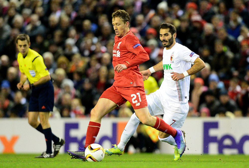 Liverpool's Lucas Leiva competes with Augsburg's Halil Altintop<br /> <br /> Photographer Richard Martin-Roberts/CameraSport<br /> <br /> Football - UEFA Europa League Round of 32 - Liverpool v Augsburg - Thursday 25th February 2016 - Anfield - Liverpool<br /> <br /> © CameraSport - 43 Linden Ave. Countesthorpe. Leicester. England. LE8 5PG - Tel: +44 (0) 116 277 4147 - admin@camerasport.com - www.camerasport.com