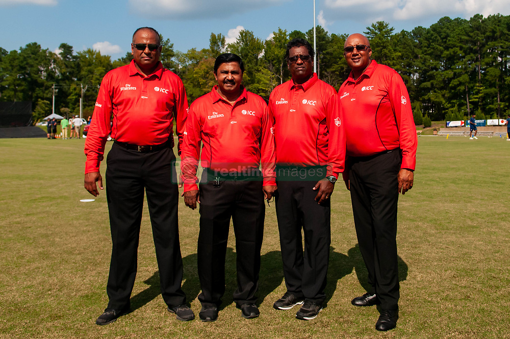September 22, 2018 - Morrisville, North Carolina, US - Sept. 22, 2018 - Morrisville N.C., USA - Officials with the  International Cricket Council (ICC) pose for a group photo before the ICC World T20 America's ''A'' Qualifier cricket match between USA and Canada. Both teams played to a 140/8 tie with Canada winning the Super Over for the overall win. In addition to USA and Canada, the ICC World T20 America's ''A'' Qualifier also features Belize and Panama in the six-day tournament that ends Sept. 26. (Credit Image: © Timothy L. Hale/ZUMA Wire)