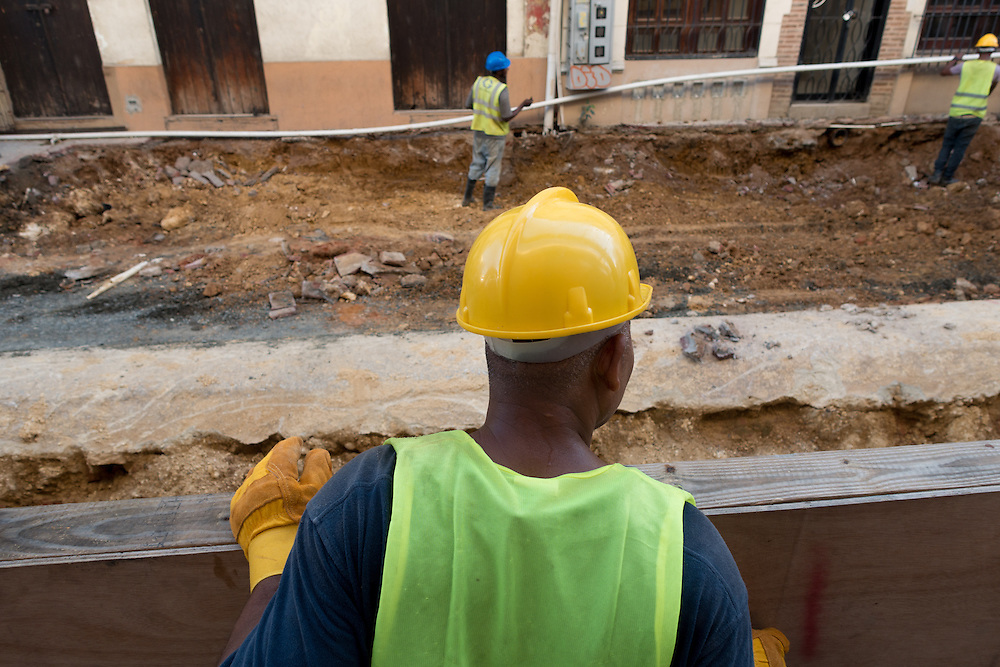 SANTO DOMINGO, DOMINICAN REPUBLIC-DECEMBER 3, 2014: Construction workers tear up a street in Santo Domingo's Zona Colonial (Colonial Zone) doing restoration work. Story on tourism to the Caribbean Island. (Photo by Angel Valentin/Getty Images for Der Spiegel)