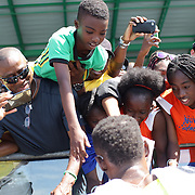 Usain Bolt, Jamaica, celebrates win fans after his win in the Men's 200m from  Zharnel Hughes, during the Diamond League Adidas Grand Prix at Icahn Stadium, Randall's Island, Manhattan, New York, USA. 13th June 2015. Photo Tim Clayton