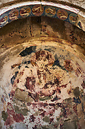 Pictures & images of the medieval Georgian Orthodox apse fresco of the Hodegetria, 16th century,  Ninotsminda Cathedral ruins, Sagarejo, in the Kakheti region, Georgia (country).<br /> <br /> Ninotsminda Cathedral is a highly important Georgian architectural building, which served as a model for the development of the later tetraconch, four-apse design of church. .<br /> <br /> Visit our MEDIEVAL PHOTO COLLECTIONS for more   photos  to download or buy as prints https://funkystock.photoshelter.com/gallery-collection/Medieval-Middle-Ages-Historic-Places-Arcaeological-Sites-Pictures-Images-of/C0000B5ZA54_WD0s<br /> <br /> Visit our REPUBLIC of GEORGIA HISTORIC PLACES PHOTO COLLECTIONS for more photos to browse, download or buy as wall art prints https://funkystock.photoshelter.com/gallery-collection/Pictures-Images-of-Georgia-Country-Historic-Landmark-Places-Museum-Antiquities/C0000c1oD9eVkh9c