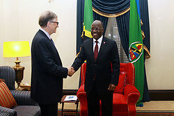 August 10, 2017 - Dar Es Salaam, Dar es Salaam, Tanzania - Bill Gates, American business magnate and philanthropist, is greeted by president John Magufuli during a visit to the Presidental State House. Gates applauds president Magufuli's commitment to poverty reduction in Tanzania and pledges his foundation's continued support.  Tanzania is one of 45 African countries in which the Bill and Melinda Gates foundation plans to invest  billion by 2021. (Credit Image: © Ric Francis via ZUMA Wire)