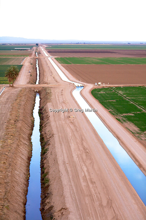 Aerial photograph of Irrigation canal for the crops of Imperial Valley.