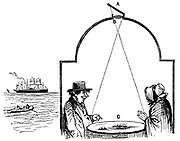 Seaside visitors paying a visit to the camera obscura. The viewers sat in a darkened chamber: the scene around was collected by the mirror, (A) and passed it through a convex lens (B), and thrown onto a white table at (C). From J.H. Pepper 'The Boy's Playbook of Science', London, 1862.