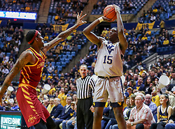 Mar 6, 2019; Morgantown, WV, USA; West Virginia Mountaineers forward Lamont West (15) shoots during the second half against the Iowa State Cyclones at WVU Coliseum. Mandatory Credit: Ben Queen-USA TODAY Sports