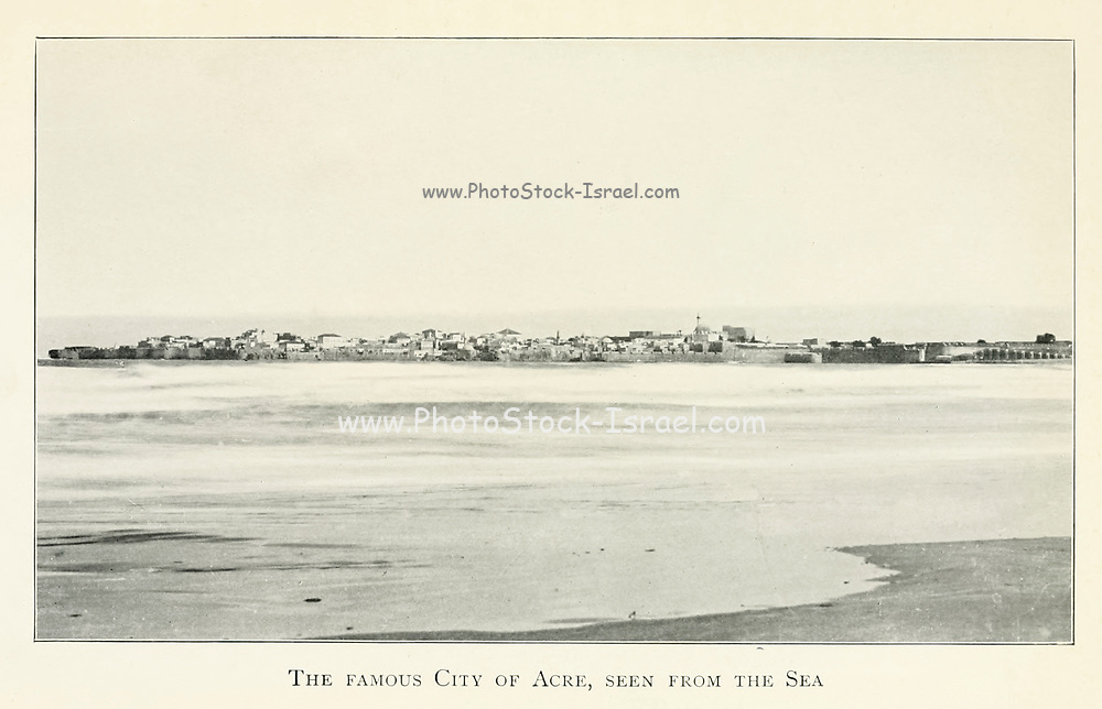 Early 20th Century Photograph (Circa 1910) of the Famous city of Acre as seen from the sea. From the book Jerusalem and the crusades by Blyth, Estelle Published in London by T.C. & E.C. Jack Circa 1913