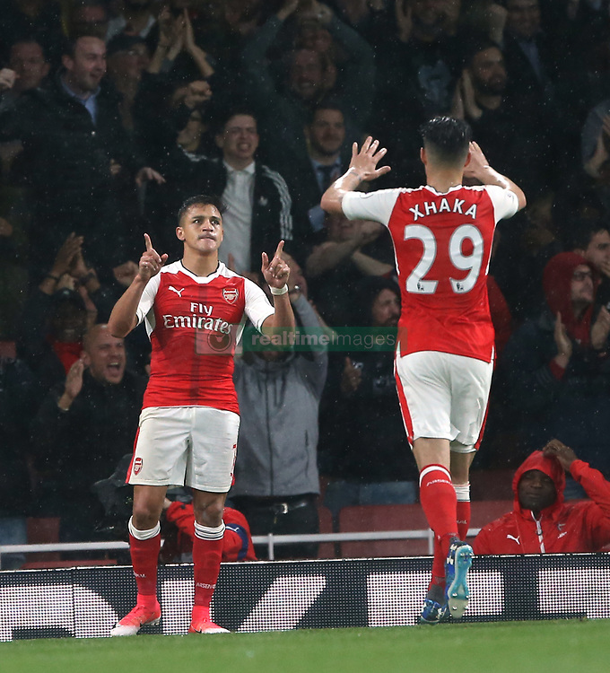 16 May 2017 London : Premier League Football : Arsenal v Sunderland :<br /> Alexis Sanchez celebrates his first goal with Arsenal colleague Granit Xhaka.<br /> Photo: Mark Leech