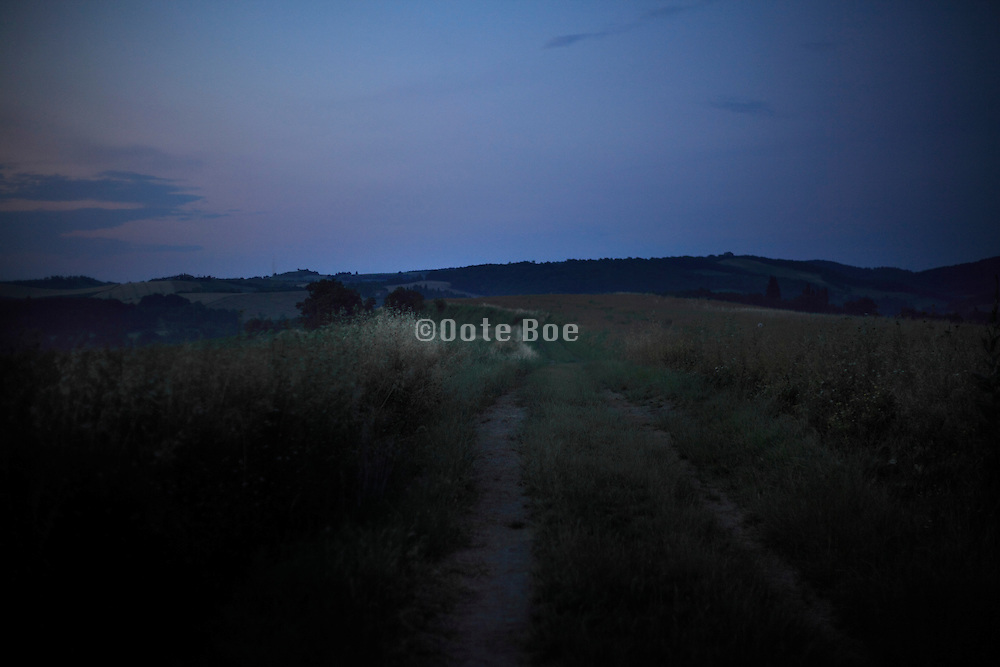 rural hilly landscape view at dawn France Languedoc Aude Razes