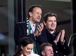 Taoiseach Leo Varadkar (left) in the stands during the FIFA World Cup qualifying play-off second leg match at the Aviva Stadium, Dublin.