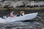 Mimmi Widstrand on a boat, Flatanger, Nord-Trøndelag, Norway