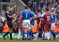 Photo. Glyn Thomas, Digitalsport<br /> Birmingham City v Aston Villa <br /> Barclays Premiership. 20/03/2005.<br /> Tempers flare during the Birmingham derby, and after this confrontation Martin Laursen (second from L) was shown the yellow card.