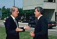 Brussels, Belgium 1989/05/29 Dan Rather and James Baker at NATO headquarters in Brussels. Belgium<br />Photo by Dennis Brack