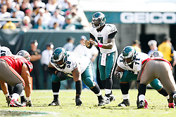 Philadelphia Eagles quarterback Michael Vick #7 takes a snap during the NFL game between the Tampa Bay Buccaneers and the Philadelphia Eagles on October 11th 2009. The Eagles won 33-14 at Lincoln Financial Field in Philadelphia, Pennsylvania. (Photo By /Brian Garfinkel)