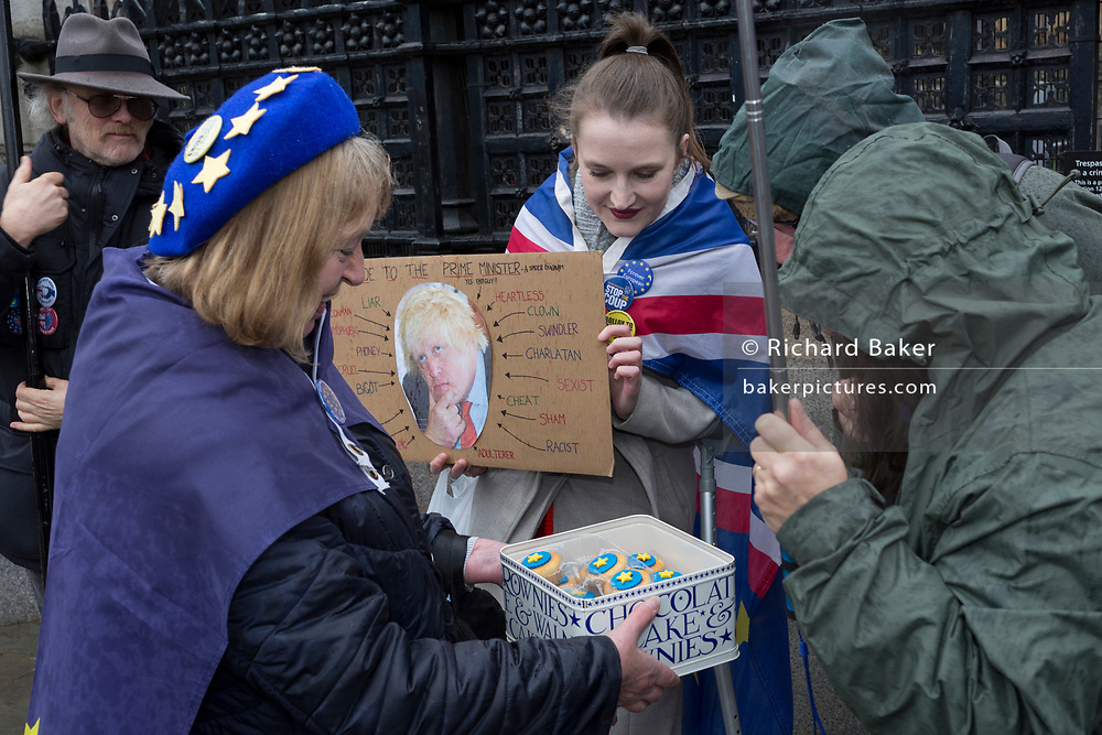 Pro-EU Remainers celebrate EU membership with cupcakes during their 'party like there's no tomorrow' for one last time outside parliament, one day before Brexit Day (the date of 31st January 2020, when the UK legally exits the European Union), in Parliament Square, Westminster, on 30th January 2020, in London, England.