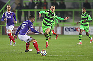 Forest Green Rovers Christian Doidge(9) runs forward during the The FA Cup match between Forest Green Rovers and Exeter City at the New Lawn, Forest Green, United Kingdom on 2 December 2017. Photo by Shane Healey.