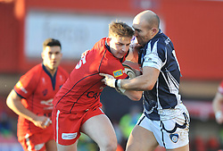 Bristol Rugby full back, Auguy Slowik is challenged by Yorkshire Carnegie's winger David Doherty - Photo mandatory by-line: Dougie Allward/JMP - Mobile: 07966 386802 - 18/01/2015 - SPORT - Rugby - Bristol - Ashton Gate - Bristol Rugby v Yorkshire Carnegie - Green King IPE Championship