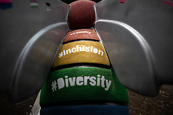 """© Licensed to London News Pictures . 26/07/2018. Manchester , UK . """" The LGBTQ+ Queen Bee """" designed by CJTaylord Art and Ben Sedman . Bee in the City sculpture in Sackville Park in Manchester Gay Village. Over 100 bee sculptures , decorated and painted by different artists , have been placed across Manchester City Centre . The worker bee is Manchester's symbol , reflecting the City's heritage as the home of the industrial revolution . Photo credit : Joel Goodman/LNP"""
