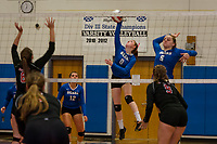 Winnisquam's Shannon Goodwin goes up for a spike against Moultonboro in Division III volleyball Monday evening.  (Karen Bobotas/for the Laconia Daily Sun)