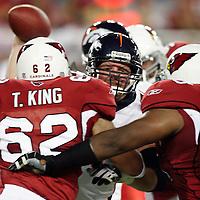 138186 cards0901  Broncos quarterback jay Cutler gets sacked Thursday night during the last preseason game at Cardinals Stadium.Photo by N.Scott Trimble/Arizona Republic