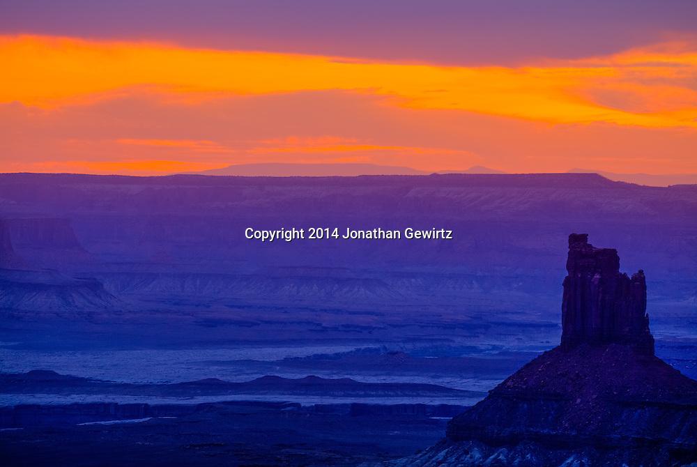 Twilight over the desert landscape at Canyonlands National Park, Utah.<br /> <br /> WATERMARKS WILL NOT APPEAR ON PRINTS OR LICENSED IMAGES.