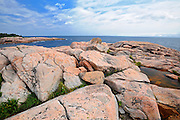 Rocky shoreline along the Cabot Strait on the Cabot Trail at Green Cove<br /> Cape Breton Highlands National Park<br /> Nova Scotia<br /> Canada