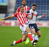 Preston North End's Sean Maguire battles with Stoke City's James Chester<br /> <br /> Photographer Dave Howarth/CameraSport<br /> <br /> The EFL Sky Bet Championship - Preston North End v Stoke City - Saturday 26th September 2020 - Deepdale - Preston <br /> <br /> World Copyright © 2020 CameraSport. All rights reserved. 43 Linden Ave. Countesthorpe. Leicester. England. LE8 5PG - Tel: +44 (0) 116 277 4147 - admin@camerasport.com - www.camerasport.com