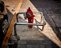 Fire Hydrant in Casablanca, Morocco Have Steel Bumper Guards. Image taken with a Nikon 1 V3 camera and 10-30 mm VR lens (ISO 200, 10 mm, f/3.5, 1/800 sec).