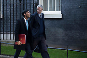 Chief Secretary to the Treasury Rishi Sunak and Environment Minister, Baron Goldsmith of Richmond Park  leaving a cabinet meeting in Downing Street on January 21st 2020 in London, United Kingdom.