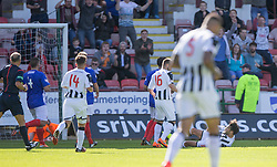 Dunfermline's Faissal El Bahktaoui (on ground) scoring their fifth goal. <br /> Dunfermline 5 v 1 Cowdenbeath, Scottish League Cup game played today at East End Park.