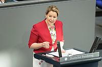 05 MAR 2021, BERLIN/GERMANY:<br /> Franziska Giffey, SPD; Bundesfamilienministerin, waehrend der Debatte zum Internationalen Frauentag; Plenum, Reichstagsgebaeude, Deutscher Bundestag<br /> IMAGE: 20210305-01-019