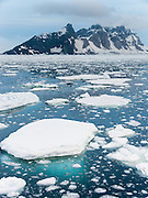 Sea ice floes drift by an Antarctic island.