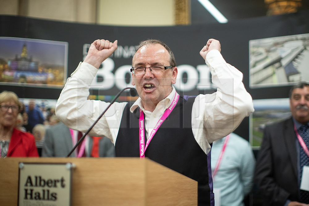 © Licensed to London News Pictures . 02/05/2019. Bolton, UK. PETER WRIGHT of Horwich and Blackrod First Independents wins the Horwich and Blackrod ward . The count for Bolton Council at Bolton Town Hall . The Labour Party are threatened to lose their majority on the council . Local council elections are taking place across the country . Photo credit: Joel Goodman/LNP