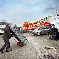 Nederland, Amsterdam , 17 februari 2014.<br /> Ondernemer Martinus Beekvelt en bewoner van  het Kermisexploitantenterrein (KET-terrein) vlakbij het Foodcenter (Centrale Markthallen)<br /> Foto:Jean-Pierre Jans