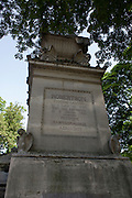 """The tomb of Étienne-Gaspard Robertson in the Pere Lachaise cemetery, Paris. Étienne-Gaspard Robert (1763-1837), often known by the stage name of """"Robertson"""", was a prominent Belgian stage magician and influential developer of phantasmagoria. He was described by Charles Dickens as """"an honourable and well-educated showman"""". Alongside his pioneering work on projection techniques for his shows Robert was also a physics lecturer and a keen balloonist at a time of great development in aviation.."""