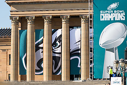 February 8, 2018 - Philadelphia, Pennsylvania, U.S - Philadelphia Museum of Art decorated for the  Philadelphia Eagles Super Bowl celebration in Philadelphia PA (Credit Image: © Ricky Fitchett via ZUMA Wire)