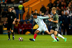 Marcus McGuane of England takes on Arne Maier of Germany Under 19s - Mandatory by-line: Robbie Stephenson/JMP - 05/09/2017 - FOOTBALL - One Call Stadium - Mansfield, United Kingdom - England U19 v Germany U19 - International Friendly