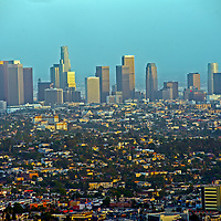 A smoggy sunset settles over downtown Los Angeles, California.