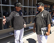 CHICAGO - MAY 14:  Bench coach Joe McEwing #47 (L) talks to hitting coach Tod Steverson #31of the Chicago White Sox prior to the game against the Cleveland Indians on May 14, 2019 at Guaranteed Rate Field in Chicago, Illinois.  (Photo by Ron Vesely)  Subject:  Joe McEwing; Todd Steverson