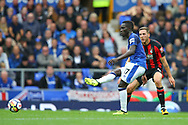 Idrissa Gueye of Everton passes the ball under pressure from Dan Gosling of Bournemouth. Premier league match, Everton vs Bournemouth at Goodison Park in Liverpool, Merseyside on Saturday 23rd September 2017.<br /> pic by Chris Stading, Andrew Orchard sports photography.