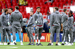 England's Dele Alli (centre) walks the pitch with team-mates prior to the FIFA World Cup 2018, round of 16 match at the Spartak Stadium, Moscow.