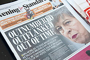Theresa May Brexit headline on the Evening Standard newspaper in London, United Kingdom.