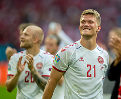 AMSTERDAM, THE NETHERLANDS - Saturday, June 26, 2021: Denmark's Andreas Cornelius celebrates after the UEFA Euro 2020 Round of 16 match between Wales and Denmark at the Amsterdam Arena. Denmark won 4-0. (Photo by David Rawcliffe/Propaganda)