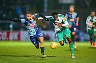 Plymouth Argyle forward Freddie Ladapo (19) holds off Wycombe Wanderers midfielder Curtis Thompson(18) during the EFL Sky Bet League 1 match between Wycombe Wanderers and Plymouth Argyle at Adams Park, High Wycombe, England on 26 January 2019.