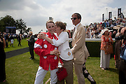 EDIE CAMPBELL; SOPHIE HICKS; RODERICK CAMPBELL; , Glorious Goodwood. Ladies Day. 28 July 2011. <br /> <br />  , -DO NOT ARCHIVE-© Copyright Photograph by Dafydd Jones. 248 Clapham Rd. London SW9 0PZ. Tel 0207 820 0771. www.dafjones.com.