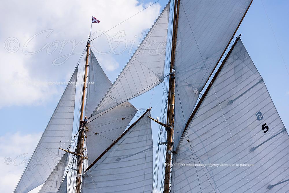 Eleonora sailing in the Panerai Newport Classic Yacht Regatta, day two.