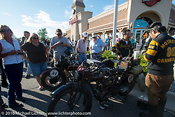 Yoshimasa Nimmi and Shinya Kimura of team 80 with their 1915 Indian Twin at the hosted dinner stop at Grand Junction Harley-Davidson during Stage 10 (278 miles) of the Motorcycle Cannonball Cross-Country Endurance Run, which on this day ran from Golden to Grand Junction, CO., USA. Tuesday, September 15, 2014.  Photography ©2014 Michael Lichter.