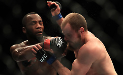 Leon Edwards (left) and Gunnar Nelson in action during their Welterweight bout during UFC Fight Night 147 at The O2 Arena, London.