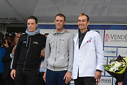 October 14, 2018 - Les Herbiers, France - G a D : Sylvain Chavanel (Direct Energie), Arnaud Gerard (Fortuneo Samsic), Jeremy Roy  (Credit Image: © Panoramic via ZUMA Press)
